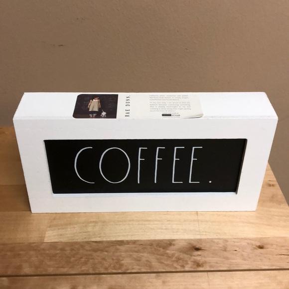 "NWT ""Coffee"" Rae Dunn Sign Wooden Black & White"